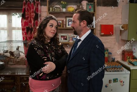 Ep 8616 Thursday 10th October 2019 - 1st Ep Mandy Dingle, as played by Lisa Riley, reluctantly invites a mysterious solicitor into Wishing Well. When the solicitor tells her that Lydia Hart's been gifted a large sum of money, Mandy's quick to pretend that she's Lydia.