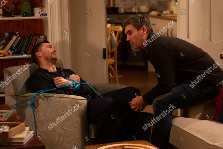 Ep 8624 Monday 21st October 2019 An oblivious Pete Barton, as played by Anthony Quinlan, heads up to the farm and walks into Cain Dingle's, as played by Jeff Hordley, trap, who promptly knocked him unconscious. A tied-up, bleeding, panic-stricken Pete tries to reason with Cain until he at last he reveals it is Nate not him that Moira is having an affair with.