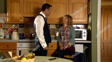 Ep 8622 Thursday 17th October 2019 - 2nd Ep Rhona Goskirk, as played by Zoe Henry, is stunned by Graham Foster, as played by Andrew Scarborough, uncharacteristic openness.