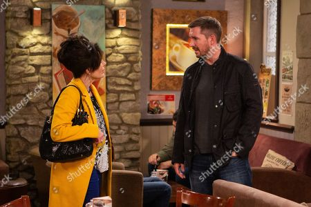 Stock Image of Ep 8620 Wednesday 16th October 2019 Faith Dingle, as played by Sally Dexter, quizzes Pete Barton, as played by Anthony Quinlan, about why he's moved into the B&B. Pete keeps schtum.