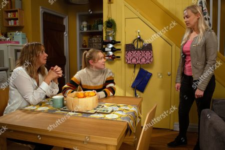 Ep 8612 Monday 7th October 2019 Vanessa Woodfield, as played by Michelle Hardwick, and Charity Dingle, as played by Emma Atkins, try to ease Tracy Metcalfe's, as played by Amy Walsh, guilty conscience.