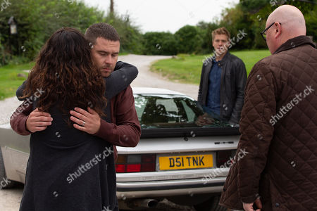 Ep 8618 & 8619 Tuesday 14th October 2019 At the village hall, Aaron reveals to a distraught Chas Dingle, as played by Lucy Pargeter, his plan to go on the run with Robert Sugden, as played by Ryan Hawley, leaving him an emotional wreck. Aaron Dingle, as played by Danny Miller, and Robert share some emotional goodbyes before they drive away, ready to start their new adventure. With Paddy Kirk, as played by Dominic Brunt.