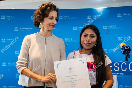 UNESCO Director-General Audrey Azoulay (L) poses with the newly appointed as UNESCO Goodwill Ambassador the Mexican actress and Oscar nominated Yalitza Aparicio (R) at UNESCO headquarter in Paris, 04 October 2019.