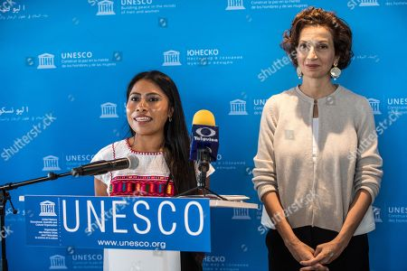 UNESCO Director-General Audrey Azoulay (L) and the newly appointed UNESCO Goodwill Ambassador, Mexican actress Yalitza Aparicio (R) give a press conference at UNESCO headquarters in Paris, France, 04 October 2019.
