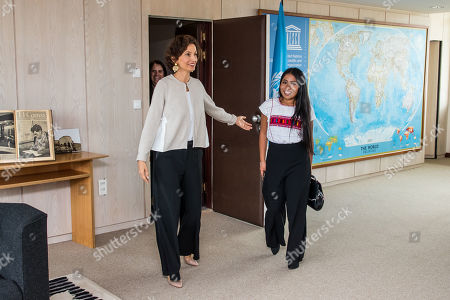 Stock Image of UNESCO Director-General Audrey Azoulay (L) welcomes the newly appointed UNESCO Goodwill Ambassador, Mexican actress Yalitza Aparicio (R) at the UNESCO headquarters in Paris, France, 04 October 2019.