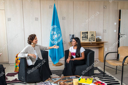 UNESCO Director-General Audrey Azoulay (L) speaks with the newly appointed UNESCO Goodwill Ambassador, Mexican actress Yalitza Aparicio (R) at the UNESCO headquarters in Paris, France, 04 October 2019.