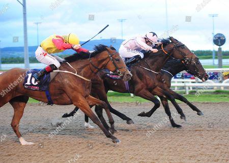 Dundalk POCOTALIGO & SHane FOley (pink) win the DUndalk Stadium Claiming Race from MARMOLATA & COlin Keane (near side)