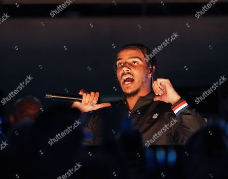 Stock Image of British rapper AJ Tracey during halftime show.