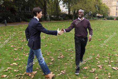 Stock Picture of London Mayoral candidates Rory Stewart and Shaun Bailey on Victoria Tower Gardens, London.