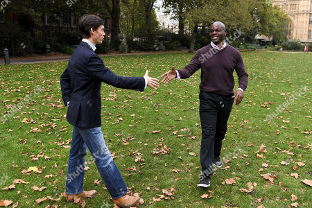 Stock Image of London Mayoral candidates Rory Stewart and Shaun Bailey on Victoria Tower Gardens, London.