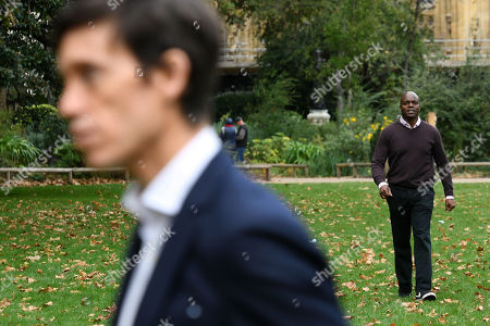 London Mayoral candidates Rory Stewart and Shaun Bailey on Victoria Tower Gardens, London.