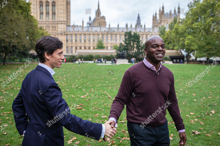 Rory Stewart (L) shaking hands with Conservative candidate in the London 2020 Mayoral Election Shaun Bailey (R) as they pass in Westminster. Rory Stewart has announced his resignation from the Conservative Party and his intention to stand as an independent candidate for Mayor of London.