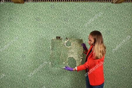 Collections manager Sophie Reynolds with the orignal sample of wallpaper that was found in a cupboard in the dining room, which now has the replica on its walls.