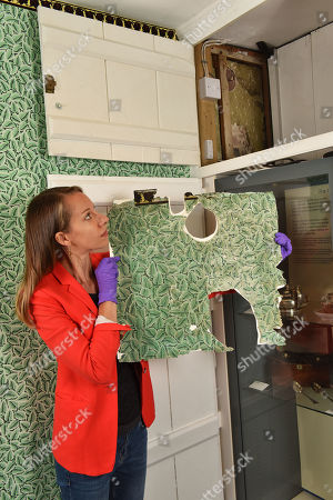 Collections manager Sophie Reynolds with the orignal sample of wallpaper showing the cupboard that it was found in within the dining room, which now has the replica on its walls.