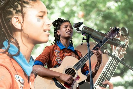 Willow Smith performs on stage during NYC Climate Strike rally and demonstration at Battery Park.