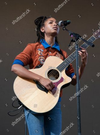 Stock Picture of Willow Smith performs on stage during NYC Climate Strike rally and demonstration at Battery Park.