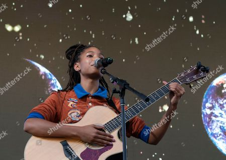 Stock Image of Willow Smith performs on stage during NYC Climate Strike rally and demonstration at Battery Park.