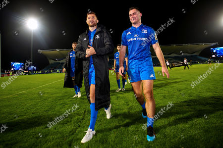 Leinster vs Ospreys. Leinster's Ross Byrne with Conor O'Brien celebrate winning
