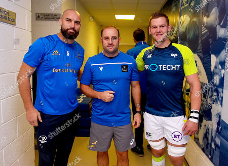 Leinster vs Ospreys. Leinster captain Scott Fardy and Ospreys captain Dan Lydiate with referee Stuart Berry at the coin toss