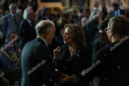 Stock Image of Portuguese Former President Jorge Sampaio (L) comfort family of late Diogo Freitas do Amaral during the funeral ceremonies at the Jeronimos Monastery in Lisbon, Portugal, 04 October 2019. Diogo Freitas do Amaral was a conservative politician who played a leading role in cementing democracy after Portugal?s 1974 Carnation Revolution, former deputy prime-minister, Foreign Minister and later became president of the U.N. General Assembly between 1995 and 1996, has died at 78.