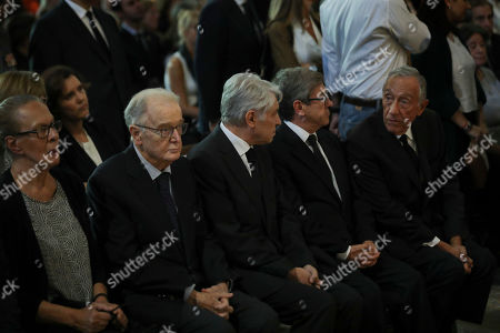 Portuguese Presidente Marcelo Rebelo de Sousa (R), Portuguese Former President Jorge Sampaio (2L) and his wife Maria Jose Ritta (L), Socialist Party (PS) Jorge Lacao (2R) during the funeral ceremonies of Diogo Freitas do Amaral at the Jeronimos Monastery in Lisbon, Portugal, 4 October 2019. Diogo Freitas do Amaral was a conservative politician who played a leading role in cementing democracy after Portugal?s 1974 Carnation Revolution, former deputy prime-minister, Foreign Minister and later became president of the U.N. General Assembly between 1995 and 1996, has died at 78.