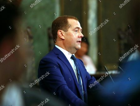 Russian Prime Minister Dmitri Medvedev delivers a speech during the ceremony where he has been invested with the title of Doctor Honoris Causa in Political Science, in Havana, Cuba, 04 October 2019. Medvedev is on his second day of an official visit to the island.