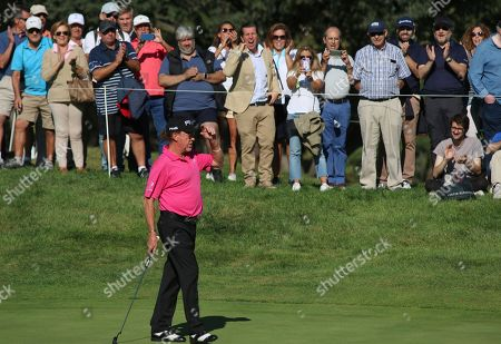 Spanish golf player Miguel Angel Jimenez competes during the second round of the Spanish Open golf tournament in Madrid, Spain