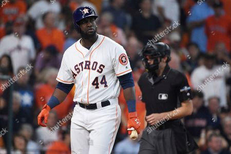 Houston Astros' Yordan Alvarez (44) reacts after striking out with bases loaded against Tampa Bay Rays starting pitcher Tyler Glasnow in the third inning during Game 1 in baseball's American League Divisional Series in Houston