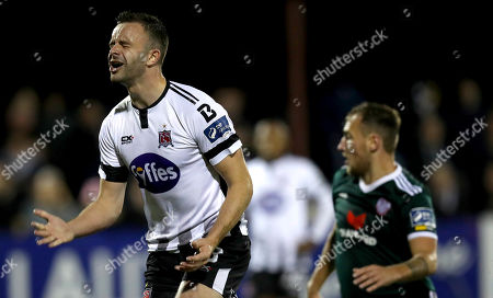 Dundalk vs Derry City. Dundalk's Robbie Benson reacts