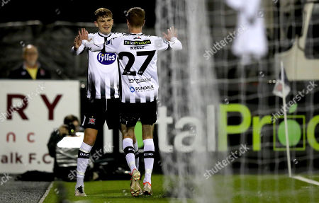 Dundalk vs Derry City. Dundalk's Daniel Kelly celebrates scoring the first goal of the game with Sean Gannon