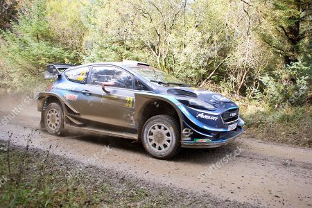 Elfyn Evans(GBR)and Co/Driver Scott Martin(GBR)Ford Fiesta WRC during the Wales Rally GB at the Snowdonia National Park on 4 October 2019.Stage SS3 Penmachno