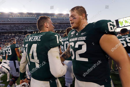 Brian Lewerke, Luke Campbell. Michigan State quarterback Brian Lewerke, left and offensive lineman Luke Campbell (62) react following an NCAA college football game against Indiana, in East Lansing, Mich