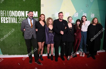 Stock Image of British actress/cast members from Producer Brian Coffey, Rona Morison, Sally Messham, Director Michael Caton-Jones, Tallulah Grieve, Marli Sue, Abigail Lawrie and Producer Laura Viederman react as they arrive at the world premiere of 'Our Ladies' in Embankment Garden Cinema in London, Britain, 04 October 2019. The 2019 BFI Film Festival runs from 02 to 13 October.
