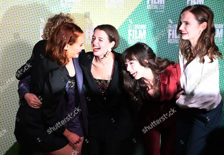 British actress/cast members from Rona Morison, Sally Messham (not seen) Tallulah Grieve, Abigail Lawrie and Marli Sue react as they arrive at the world premiere of 'Our Ladies' in Embankment Garden Cinema in London, Britain, 04 October 2019. The 2019 BFI Film Festival runs from 02 to 13 October.