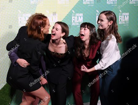 British actress/cast members from Rona Morison, Sally Messham Tallulah (not seen) Grieve, Marli Sue, Abigail Lawrie react as they arrive at the world premiere of 'Our Ladies' in Embankment Garden Cinema in London, Britain, 04 October 2019. The 2019 BFI Film Festival runs from 02 to 13 October.