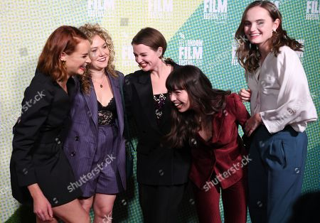 British actress/cast members from Rona Morison, Sally Messham Tallulah Grieve, Marli Sue, Abigail Lawrie react as they arrive at the world premiere of 'Our Ladies' in Embankment Garden Cinema in London, Britain, 04 October 2019. The 2019 BFI Film Festival runs from 02 to 13 October.