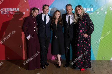 Kristen Stewart, Joe Shrapnel, Anna Waterhouse, Benedict Andrews, Kate Garwood. Kristen Stewart, Joe Shrapnel, Anna Waterhouse, Benedict Andrews and Kate Garwood pose for photographers upon arrival at the premiere of the 'Seberg' which is screened as part of the London Film Festival, in central London