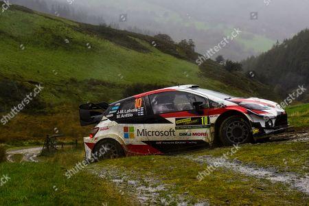 Jari-Matti Latvala of Finland drives his Toyota Yaris WRC during the Wales Rally Great Britain 2019, 04 October 2019, near Bala, Wales, England.
