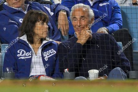 Stock Picture of Former Los Angeles Dodgers pitcher Sandy Koufax watches during the eighth inning in Game 2 of a baseball National League Divisional Series between the Dodgers and the Washington Nationals, in Los Angeles