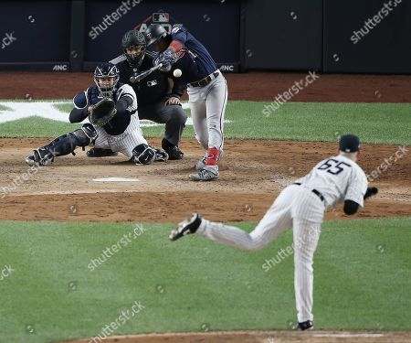 Minnesota Twins batter Jorge Polanco hits an RBI single against New York Yankees pitcher James Paxton in the top of the fifth inning of their MLB American League Divsion Series playoff baseball game at Yankee Stadium in the Bronx, New York, USA, 04 October 2019. The winner of the seven game playoff series will go on to face either the Houston Astros or the Tampa Bay Rays in the American League Championship Series.