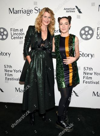 "Laura Dern, Jaya Harper. Actress Laura Dern, left, and daughter Jaya Harper attend the ""Marriage Story"" premiere during the 57th New York Film Festival at Alice Tully Hall, in New York"