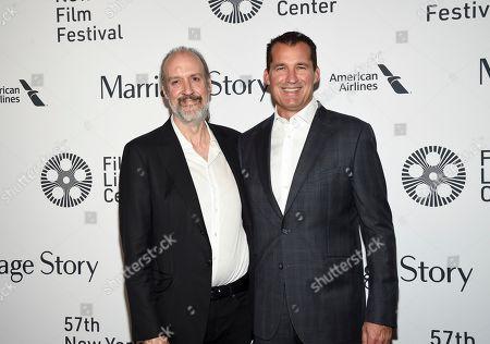 "Kent Jones, Scott Stuber. NYFF director Kent Jones, left, and producer Scott Stuber attend the ""Marriage Story"" premiere during the 57th New York Film Festival at Alice Tully Hall, in New York"