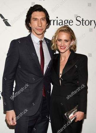 """Adam Driver, Joanne Tucker. Actor Adam Driver, left, and wife Joanne Tucker attend the """"Marriage Story"""" premiere during the 57th New York Film Festival at Alice Tully Hall, in New York"""