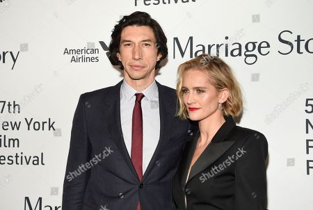 """Stock Photo of Adam Driver, Joanne Tucker. Actor Adam Driver, left, and wife Joanne Tucker attend the """"Marriage Story"""" premiere during the 57th New York Film Festival at Alice Tully Hall, in New York"""