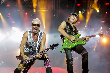 Rudolf Schenker (L) and Matthias Jabs (R), members of the German band Scorpions, perform on stage during the Rock in Rio 2019 music festival, in Rio de Janeiro, Brazil, 04 October 2019.