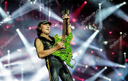 Matthias Jabs of the German band Scorpions performs on stage during the Rock in Rio 2019 music festival, in Rio de Janeiro, Brazil, 04 October 2019.