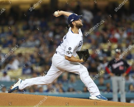 Los Angeles Dodgers starting pitcher Clayton Kershaw releases a pitch in the top of the first inning of the MLB National League Division Series playoff baseball game two between the Washington Nationals and the Los Angeles Dodgers at Dodgers Stadium in Los Angeles, California, USA, 04 October 2019.