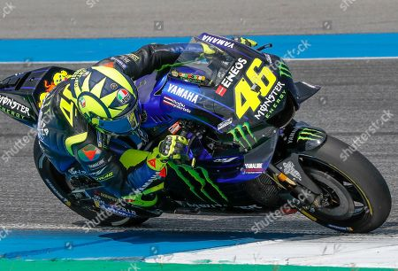 Stock Image of Italy's rider Valentino Rossi of the Movistar Energy Yamaha MotoGP Team rides during Thailand's MotoGP at the Chang International Circuit in Buriram, Thailand