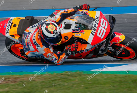 Spanish rider Jorge Lorenzo of the Repsol Honda Team enters a turn during the qualifying round of Thailand's MotoGP at the Chang International Circuit in Buriram, Thailand