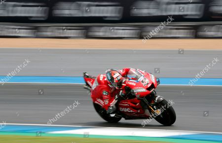 Italian MotoGP rider Danilo Petrucci of Ducati Team in action during the third free practice session of the Motorcycling Grand Prix of Thailand at Chang International Circuit, Buriram province, Thailand, 05 October 2019.